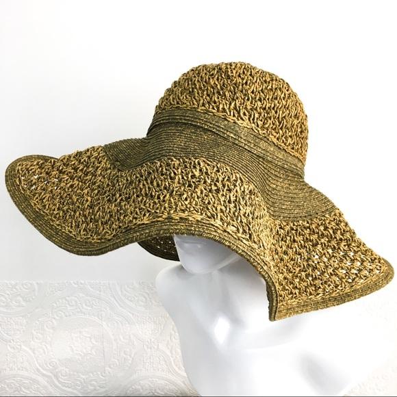 Nine West straw floppy wide brim sun beach hat